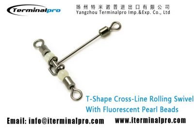 T-shape-cross-line-rolling-swivel-with-fluorescent-pearl-beads-terminal-tackle-fishing-accessories
