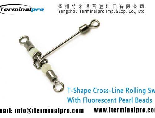 T-Shape Cross-Line Rolling Swivel With Fluorescent Beads