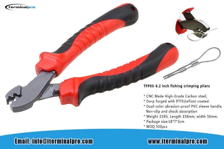 TFP03 CNC made high grade carbon steel 6.2 inch fishing crimping pliers
